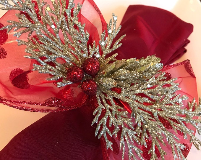 Featured listing image: Napkin Rings - gold cedar branches and red jingle bells with Dotted Net Ribbon - Christmas