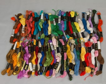 Vintage embroidery floss Variety of colors, some have been used Iris Floss DMC Floss Appoximate 65 in a bag
