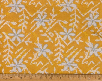 Cotton Fabric Gold yellow background White / Gray flowers and leaves Quilt / Dressmaking Sold as one piece
