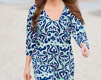 Blue beach coverup tunic bathing suit cover bridesmaid beach wedding swimsuit tropical vacation honeymoon resort BeachHouseDreamsOBX