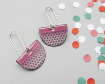 Purple Dangle Earrings - Purple Enamel Half Circle Earrings with Polka Dots - Purple Semicircle Earrings