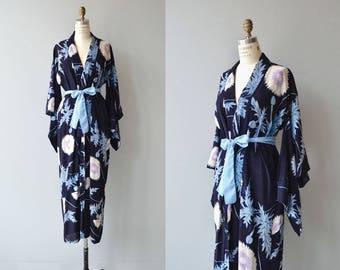 Azami silk wrapper | antique 1920s silk robe | floral print 20s kimono robe