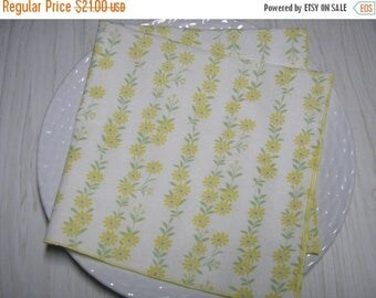 SALE Cloth Napkins Pale Yellow Floral on White Set of 6