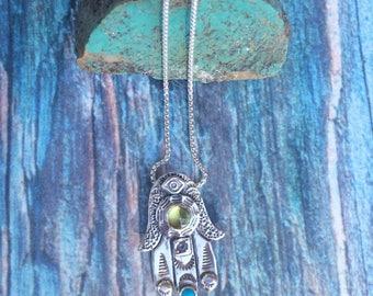 Hamsa hand necklace, Hand of God necklace, Hand of Fatima