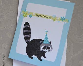 Racoon birthday card, Racoon, Birthday, Birthday card, Greeting, Funny card, Cute card, Animal card