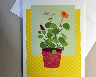 Cute, Thank you Card, Greeting Card, Flowers, Sale