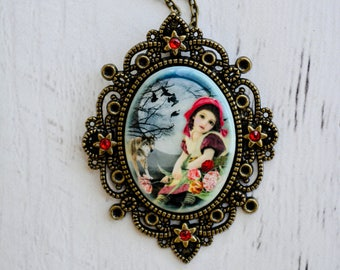 Little Red Riding Hood Necklace - Red Riding Hood - Wolf Necklace - Stocking Stuffers for Women - Fairy Tale Jewelry - Big Bad Wolf