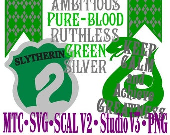Slytherin House -  Bundle of 4 Harry Potter Cutting ScAL MTC SVG Cut File Silhouette