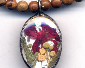 Reversible Terrarium Necklace, Sand Jasper Lace Necklace Real Dry Flower Pendant Necklace, Real Lace Nature Lover Preserved Flowers Necklace