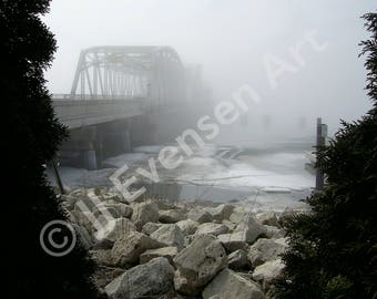 Steel Bridge in Fog 5x7 Print