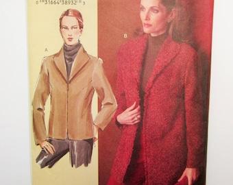 Vogue Sewing Pattern V7976, Misses Semi-fitted Jacket, Sandra Betzina, Sizes D, E, F, Uncut 2004
