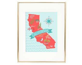 State Map California Art Print AZ125