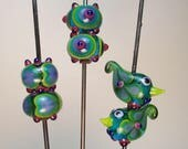 LAMPWORK BEAD MATCHED Pairs: Bullseyes, Paisley-winged Folk Art Chicklettes, Hearted by Patti Cahill