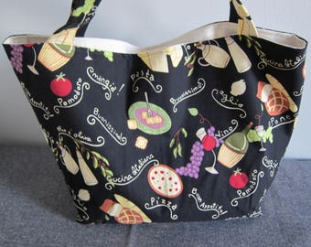 Market Bag, Italian, Pasta, Herbs, Foodie, Subway Bag, Grocery Bag, 100s Fabric Choices