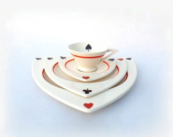 "Salem China Atomic Art Deco Dinnerware Set for 4, MCM Tricorne & Streamline Hand Painted ""Card Suits"" Pattern, w/ Extra Large Dinner Plates"