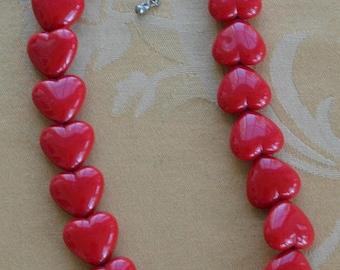 "On sale Red Heart Necklace, Plastic, Vintage, Adjustable, 16""-19"" (P15)"