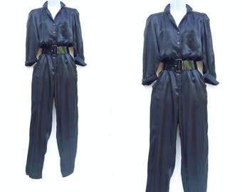 70s Black Jumpsuit Black Liquid Satin Vintage Jumpsuit 1970s Does 1940s Disco Glam Jumpsuit 70s Black Romper 1970s Disco Jumpsuit medium
