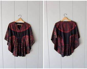 70s Dashiki Tunic Top Ethnic Boho Festival Shirt Batwing Bohemian Caftan Black Red Summer Kaftan Blouse Swimsuit Cover Womens FREE SIZE