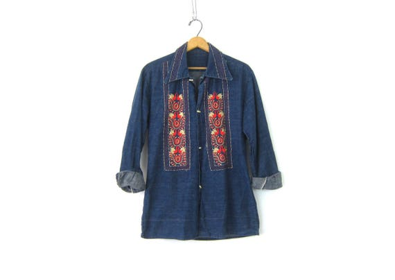 Embroidered Jean shirt Denim shirt Jacket Boho Ethnic Embroidery Hippie Hipster Coat Toggle Buttons Bohemian Chic Shirt Women's Medium