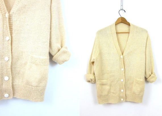 Off White cardigan sweater Retro button up long sleeve cream off white preppy Hipster Pocket sweater mohair wool blend Size Medium Large