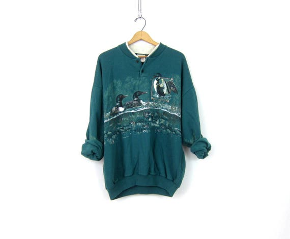 vintage 80s Duck Loon Oversized Green Baggy Henley sweatshirt COED size XL Nature Print Lake Moon Birds with Pockets