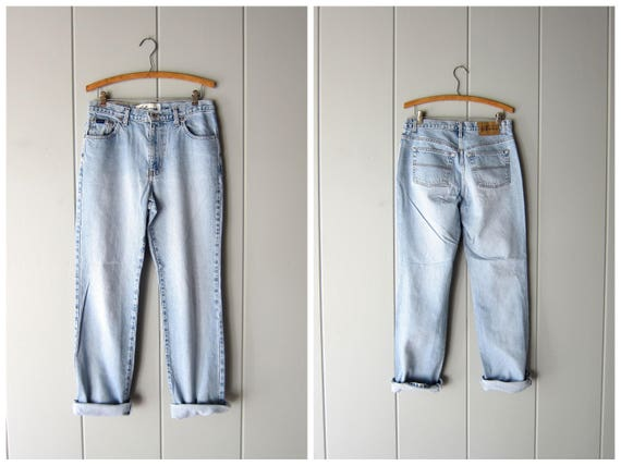 """90s Mom Jeans Washed Out Light Blue Jeans High Waist Jeans Worn In Hipster Jeans Boot Leg Work Jeans Womens Waist 31"""" 32"""""""