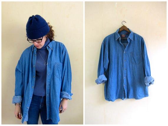 90s Jean Shirt Worn In Denim Shirt Button Up Oversized Distressed Jean Shirt Pocket Oxford Shirt Mens Size XL
