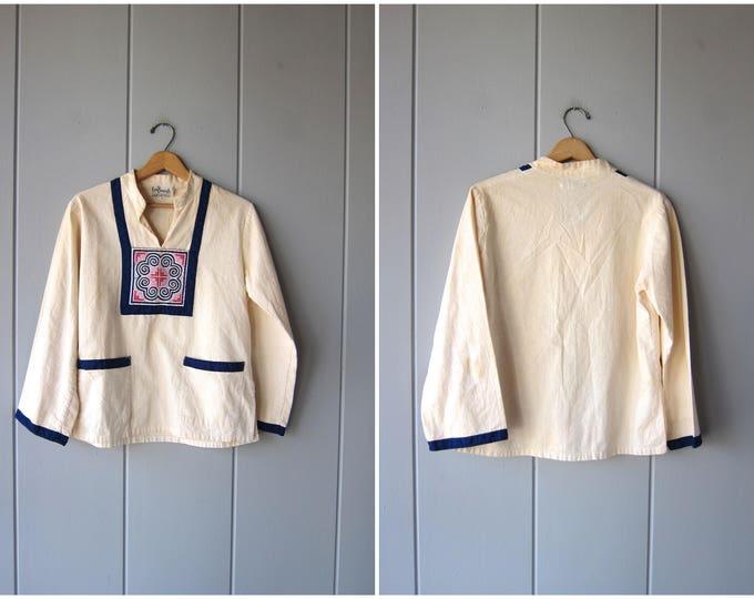 70s Ethnic Shirt Cotton Thai Pullover Embroidered Festival Top Natural White Folk Blouse Long Sleeve Hippie Boho Shirt MN Women Medium