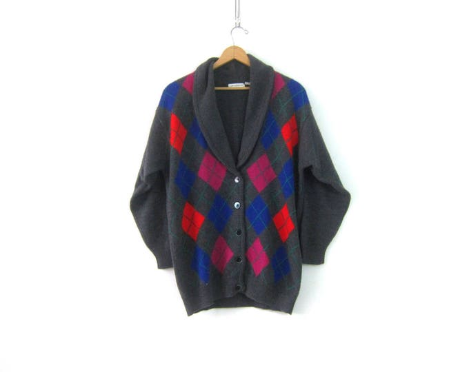 Long Argyle Knit Wool Cardigan Gray Button Down Sweater 1990s Cocoon Sweater Button Up Blue Pink Vintage Sweater Womens Size Large