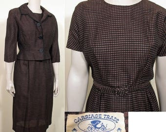 1950s Vintage Brown and Black Plaid Dress and Jacket Set SZ M
