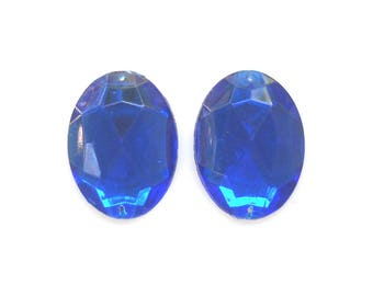 Blue Oval Crystal Cabochon, Vintage Faux Crystal Flat Sew on Faceted Beads Flat Back, Vintage Embellishments, set of 2
