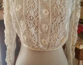 Hand tatted antique Edwardian Victorian cusp bodice blouse antique lace bridal boho wedding dress goth