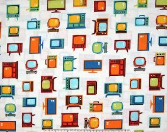Let Me Entertain You Fabric - Retro Television TV Beige - Robert Kaufman YARD