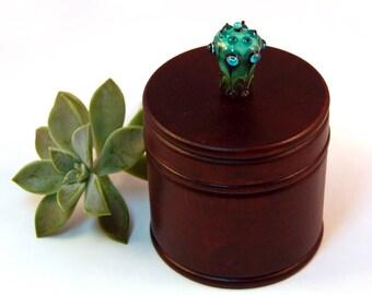 Elegant Little Wood Box with Emerald Lampwork Glass Knob/Finial