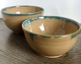 Brown and Green Stacking Bowls. Handmade Ceramic Nesting Bowls.