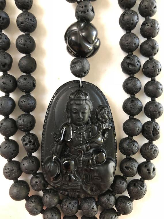 Black Lava and Obsidian Mala/Prayer Beads