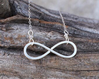 Infinity Necklace, Sterling Silver, Minimalist, Wire Jewelry