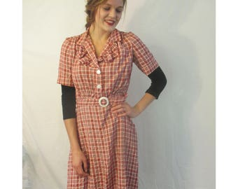 Vintage cream and red check 40's/50's  house dress from BASIA'S  Private Vintage Collection