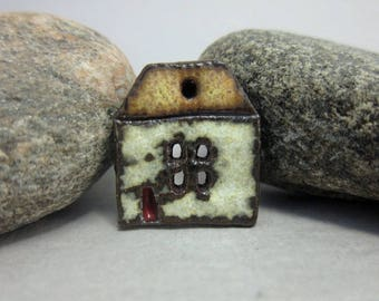 Rustic Ceramic House Button...Summer Cottage...Brown Roof