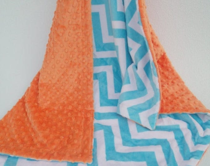 SALE Aqua Chevron and Orange Minky Blanket Can Be Personalized