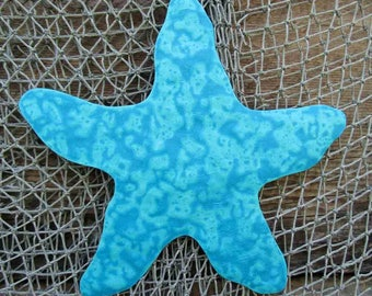 Metal Wall Art Starfish Sculpture - Recycled Metal Ocean Theme Marine Beach House Coastal Decor Aqua Blue Indoor Outdoor   11x11