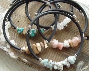 Moonstone Bracelet. Gemstone Bracelet. Moonstone Cuff Bracelet. Moonstone Jewelry. Artisan Gemstone Jewelry. Stone Stacking Bracelet.