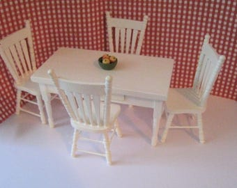 Dollhouse table, White table set,  Four dollhousechairs , white  kitchen set, table and chairs, twelfth scale,  distress set