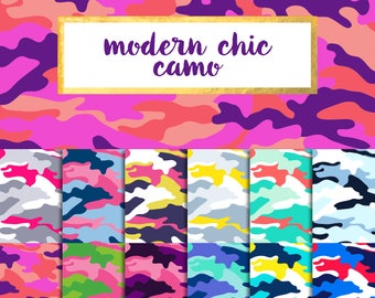 New! Modern Chic Camo Digital Paper Pack (Instant Download)
