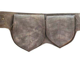 Leather Utility Belt   Distressed Brown Double Leaf, 3 Pocket   travel, cosplay, festival   Fits iPhone