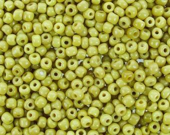 3/0 (5mm) Vaseline Yellow Vintage Italian Murano Glass Seed Beads 20 Grams (CS125) SE