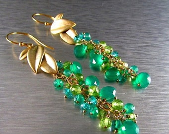 25 OFF Green Onyx With Peridot And Apatite Cluster Dangle Earrings