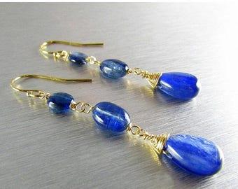 25 OFF Long Kyanite With Gold Filled Earrings, Artisan Kyanite Earrings