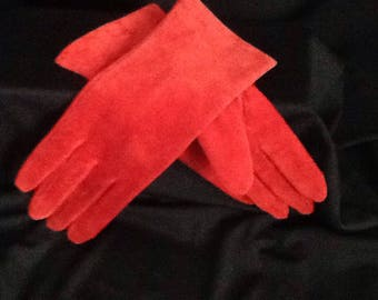 Women's Red Suede Leather Vintage Driving Gloves Size 7 (Med)