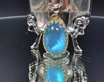 Blue Gemstone Necklace Sterling Silver Bezel Set Handmade Blue Pendant Blue Topaz Doublet Choker Necklace Metalsmith Forged Pendant